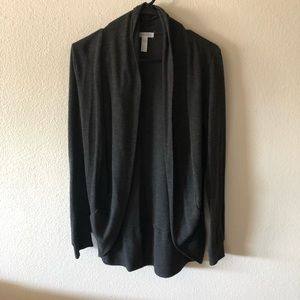 Gray jersey material open cardigan